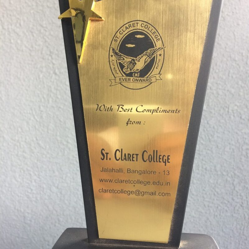 Awarded at St Claret for Successful Completion Of Tally Program